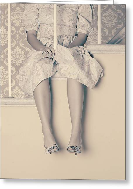 Stair-rail Greeting Cards - Girl On Steps Greeting Card by Joana Kruse
