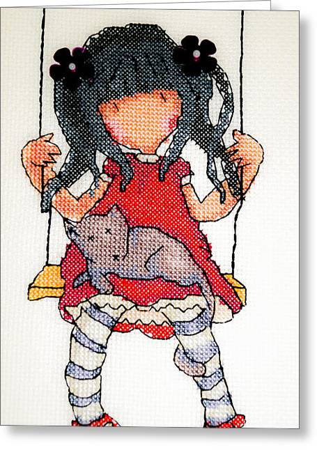 Girl Pyrography Greeting Cards - Girl on swing Greeting Card by Sergio Ferreira