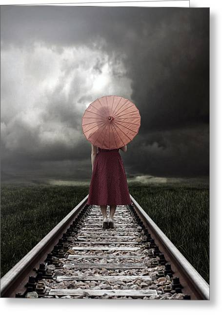 Haze Photographs Greeting Cards - Girl On Tracks Greeting Card by Joana Kruse