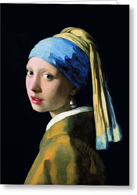 Girl With A Pearl Earring Greeting Cards - Girl With A Pearl Earring Greeting Card by Jan Vermeer