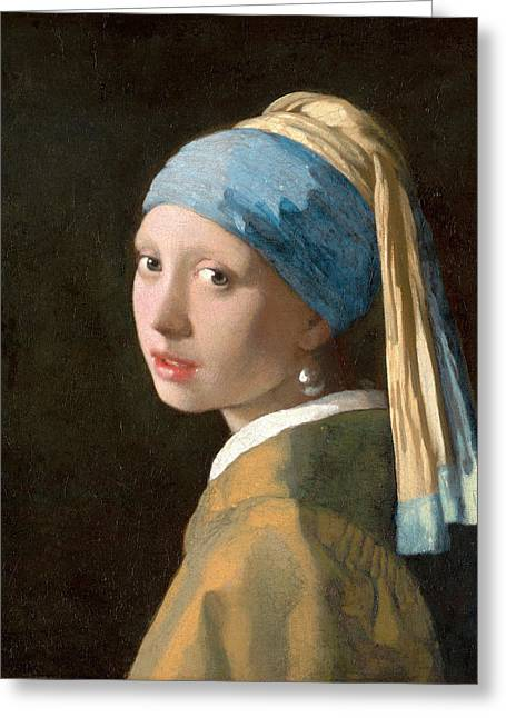 Girl With A Pearl Earring Greeting Cards - Girl with a Pearl Earring Greeting Card by Johannes Vermeer