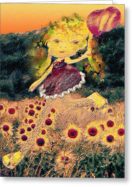 Figuratif Greeting Cards - Girl with balloons Greeting Card by Luana-Beatrice Lazar