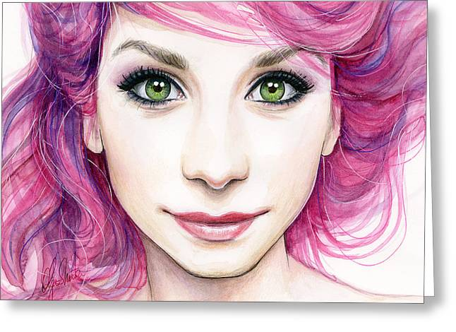 Beautiful Girl Greeting Cards - Girl with Magenta Hair Greeting Card by Olga Shvartsur