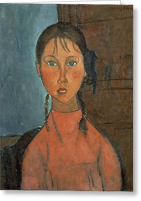 Modigliani Greeting Cards - Girl With Pigtails Greeting Card by Amedeo Modigliani