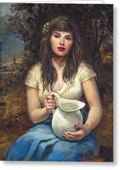 Girl With Pitcher Greeting Card by Ron Escudero