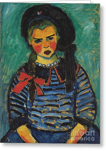 Orthodox Paintings Greeting Cards - Girl With Red Ribbon Greeting Card by Alexej Von Jawlensky