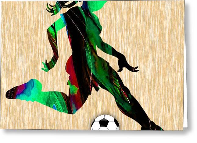 Girls Soccer Art Greeting Cards - Girls Soccer Greeting Card by Marvin Blaine