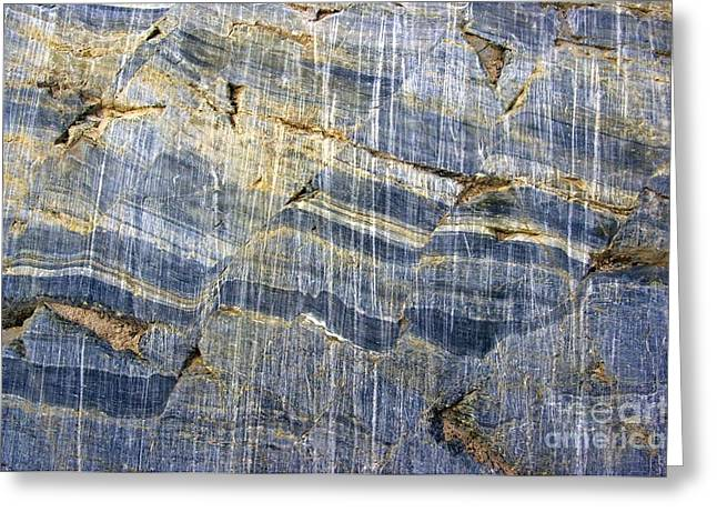 Striae Greeting Cards - Glacial Striae On Fractured Marble Greeting Card by Dr Juerg Alean