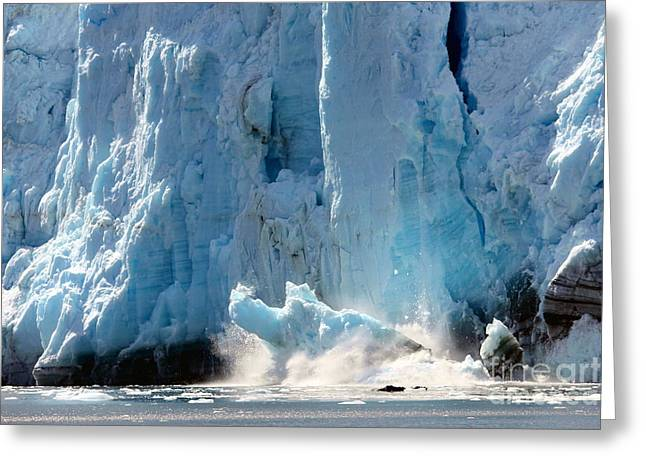 Glacier Bay Greeting Cards - Glacier Collapse Greeting Card by Sophie Vigneault