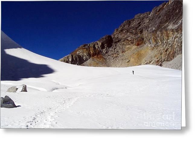 Mt Everest Base Camp Greeting Cards - Glacier Hiker Greeting Card by Tim Hester