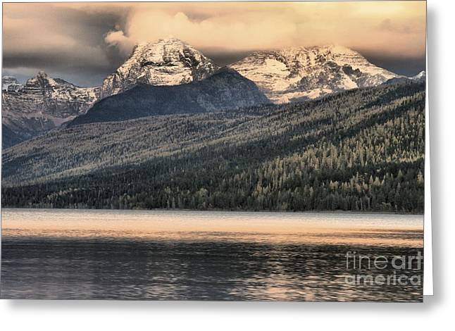 Lake Mcdonald Greeting Cards - Glacier Snow Caps Greeting Card by Adam Jewell