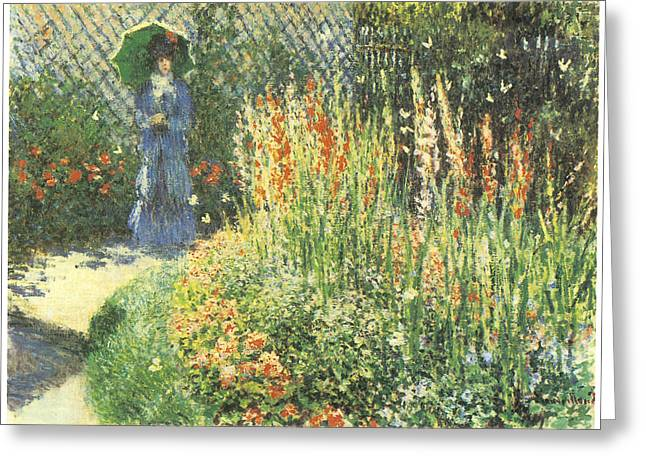 Woman In A Dress Greeting Cards - Gladioli Greeting Card by Claude Monet
