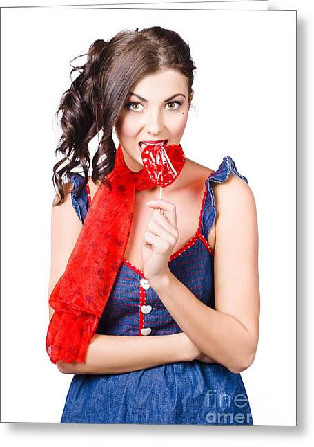 Glamorous Girl Eating Lollipop. Eat Your Heart Out Greeting Card by Jorgo Photography - Wall Art Gallery