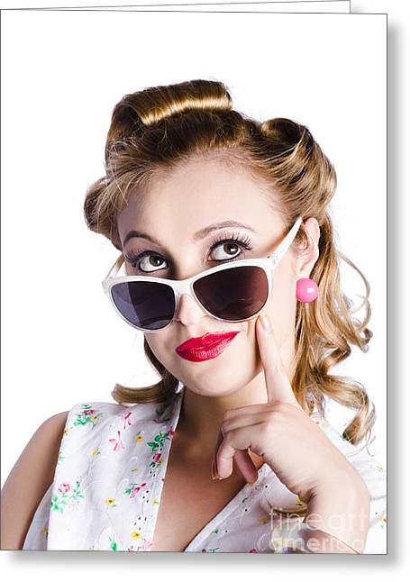 Youthful Greeting Cards - Glamorous woman in sunglasses Greeting Card by Ryan Jorgensen