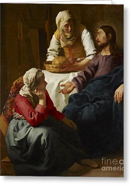 The Houses Greeting Cards - Christ in the House of Martha and Mary Greeting Card by Johannes Vermeer