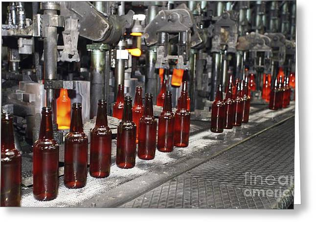 Glass Bottle Greeting Cards - Glass Bottle Production Line Greeting Card by RIA Novosti