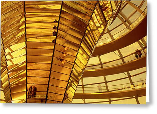 Geometric Image Greeting Cards - Glass Dome Reichstag Berlin Germany Greeting Card by Panoramic Images