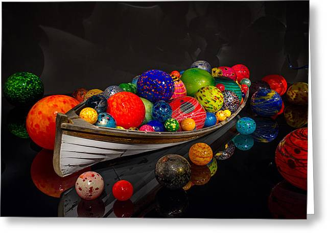 Shiny Glass Art Greeting Cards - Treasure Boat Greeting Card by Ahmed Memon