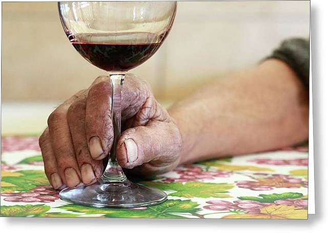 Glass Of Red Wine Greeting Card by Mauro Fermariello