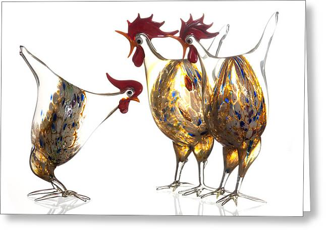 Clucking Greeting Cards - Glass Poultry Greeting Card by Dirk Ercken