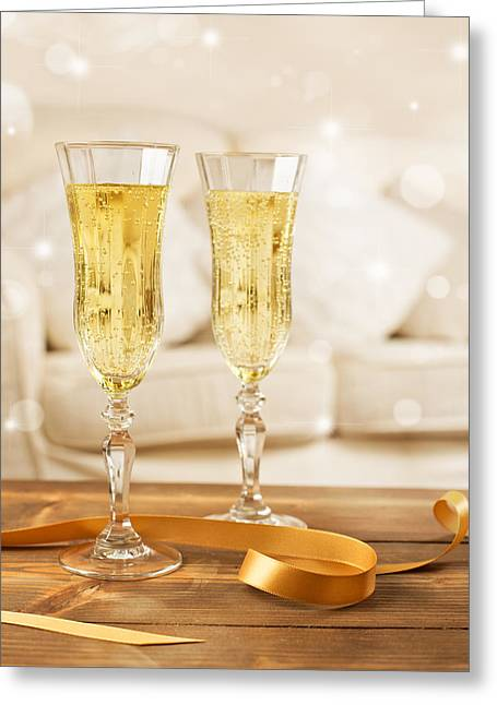 Bubbly Greeting Cards - Glasses Of Champagne Greeting Card by Amanda And Christopher Elwell