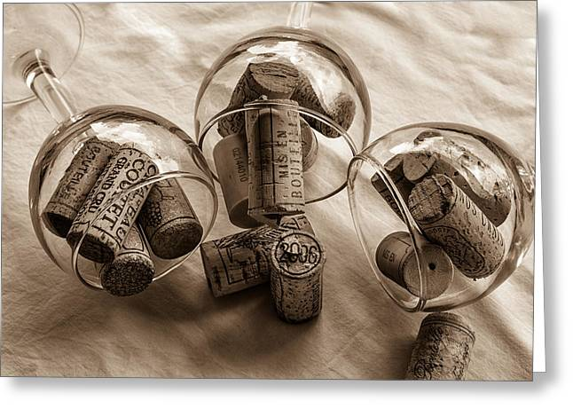 South Of France Greeting Cards - Glasses of Corks toned Greeting Card by Nomad Art And  Design
