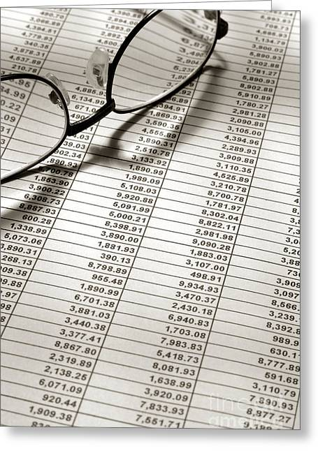 Calculation Greeting Cards - Glasses on Financial Spreadsheet Greeting Card by Olivier Le Queinec