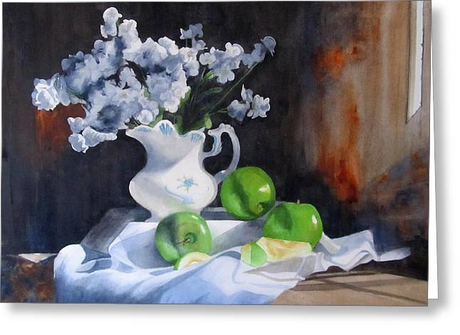 Still Life With Green Apples Greeting Cards - Glendas Still life Greeting Card by Denny Dowdy