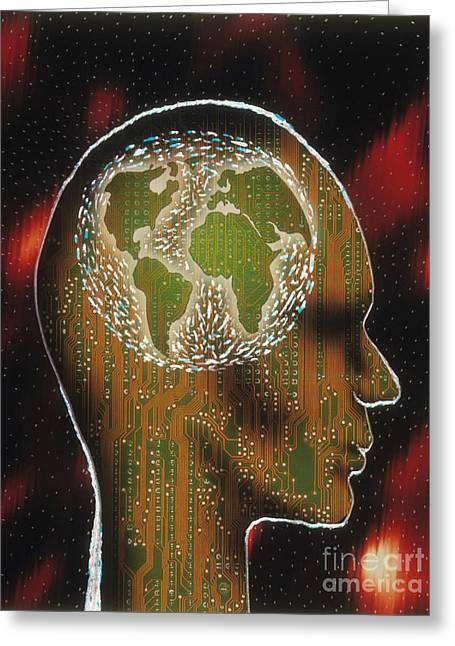 Circuitboard Greeting Cards - Globally Minded Greeting Card by Novastock