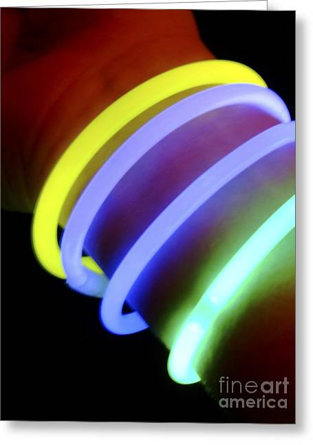 Glow In The Dark Greeting Cards - Glow-in-the-dark Bracelets Greeting Card by Martyn F. Chillmaid