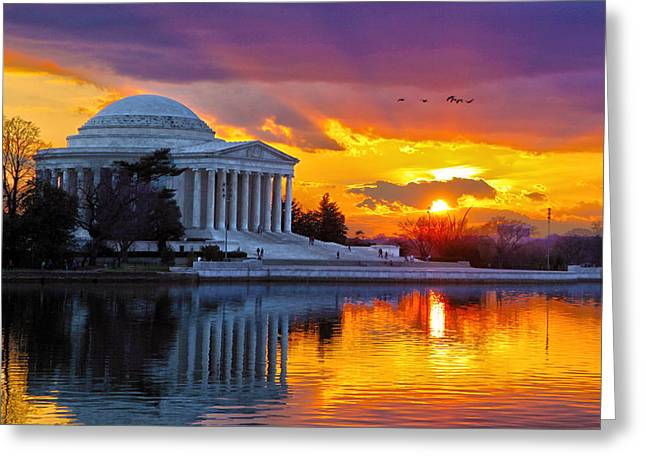 Jefferson Memorial Greeting Cards - Glow Greeting Card by Mitch Cat