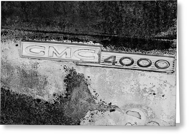 General Motors Company Greeting Cards - GMC 4000 V6 Pickup Truck Side Emblem Greeting Card by Jill Reger