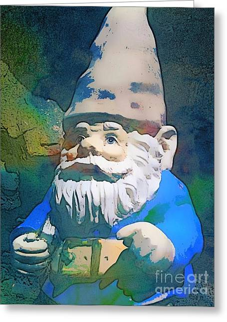 Garden Statuary Greeting Cards - Gnome Greeting Card by Jen  Brooks Art