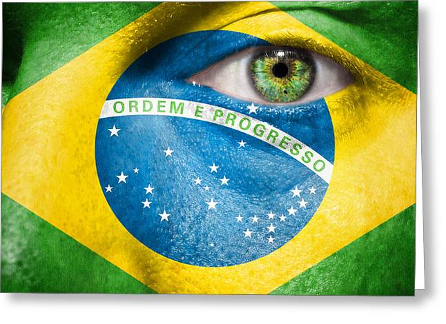 Fanatic Photographs Greeting Cards - Go Brasil Greeting Card by Semmick Photo