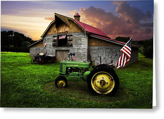 Hay Bale Greeting Cards - God Bless America Greeting Card by Debra and Dave Vanderlaan