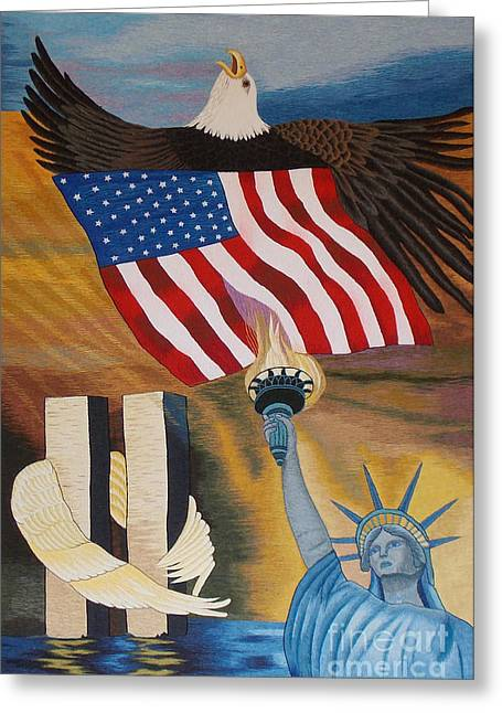 City Tapestries - Textiles Greeting Cards - God Bless America hand embroidery Greeting Card by To-Tam Gerwe