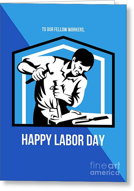 Labor Day Greeting Cards - God bless our workers Happy Labor Day Retro Poster Greeting Card by Aloysius Patrimonio