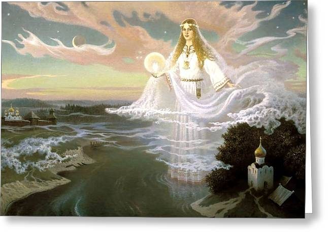 Sacred Reliefs Greeting Cards - Goddess Greeting Card by Raphael  Sanzio