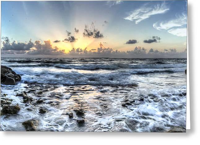 Panoramic Ocean Greeting Cards - Gods Glory Greeting Card by Debra and Dave Vanderlaan