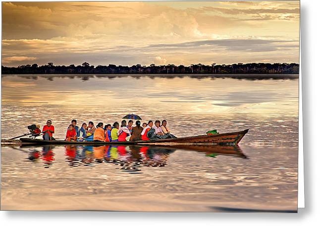 Canoe Photographs Greeting Cards - Colorful Passage Greeting Card by Maria Coulson