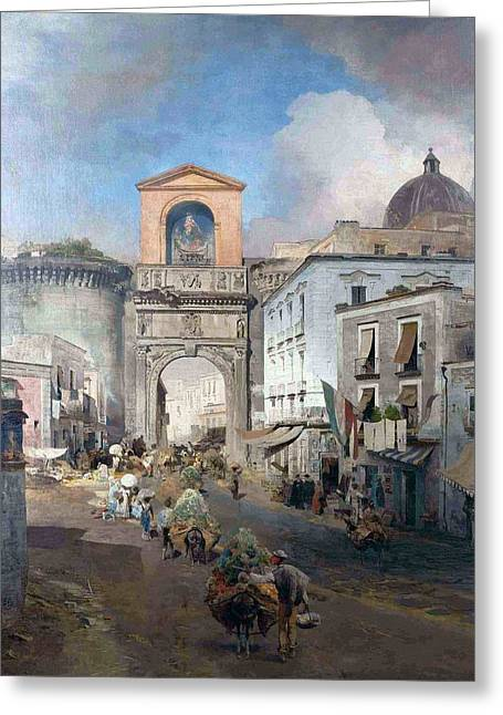 Going To Market Greeting Cards - Going To Market  Greeting Card by Oswald Achenbach