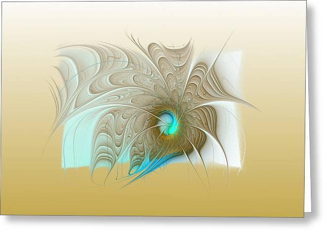 Floral Digital Art Digital Art Greeting Cards - Gold Greeting Card by Amanda Moore