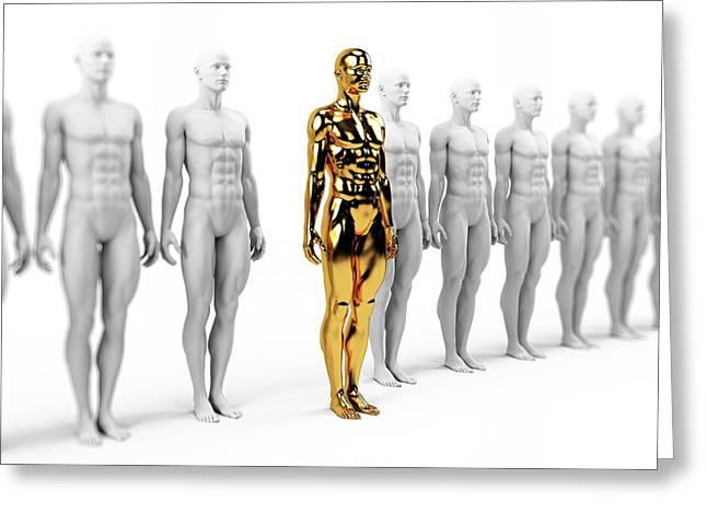 Gold And White Human Models Greeting Card by Sebastian Kaulitzki
