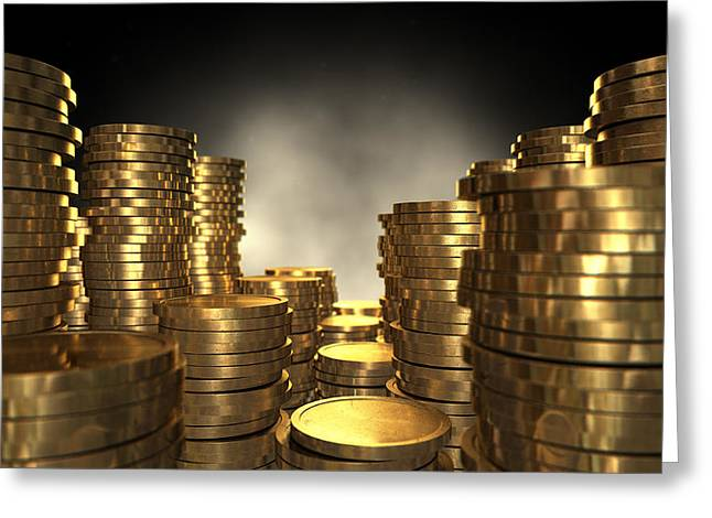 Gold Coin Stacks Greeting Card by Allan Swart
