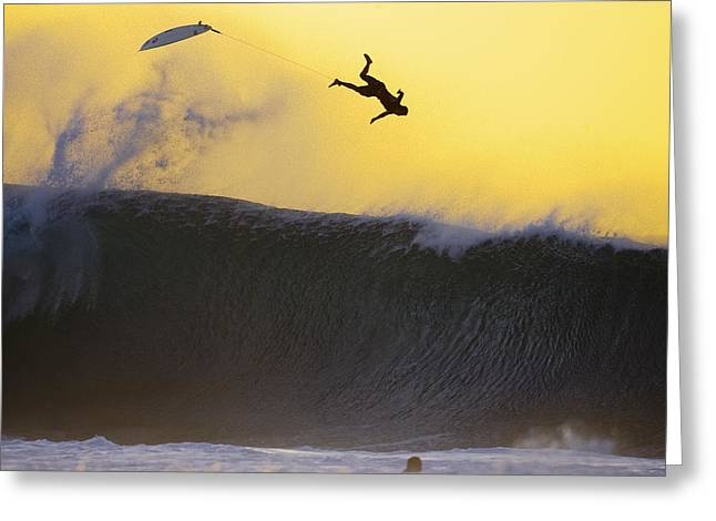 Wipe Out Greeting Cards - Gold Leap Greeting Card by Sean Davey