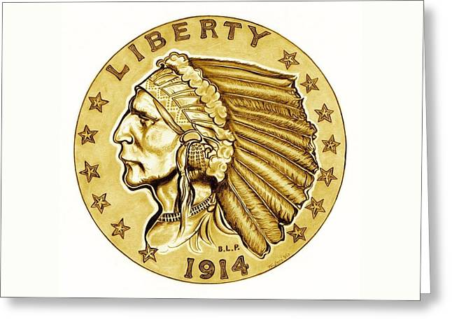 U.s. Coins Greeting Cards - Gold Quarter Eagle Greeting Card by Fred Larucci