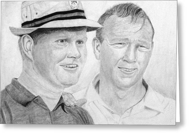 Nicklaus Drawings Greeting Cards - Golden Bear and The King Greeting Card by Steve Keller