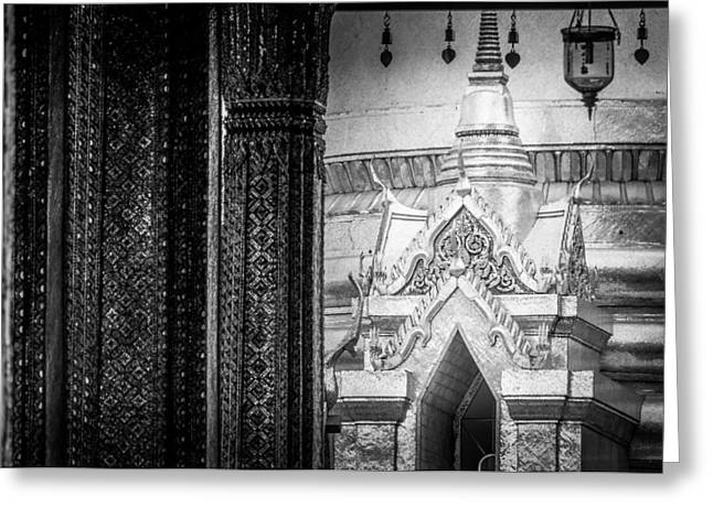 Asien Greeting Cards - Golden Chedi Phra Siratana Chedi in the Temple of the Emerald Buddha - Bangkok Thailand Greeting Card by Colin Utz