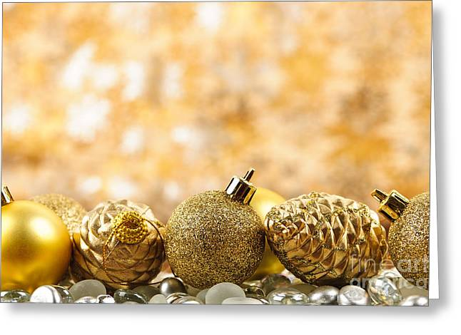 Beads Greeting Cards - Golden Christmas  Greeting Card by Elena Elisseeva