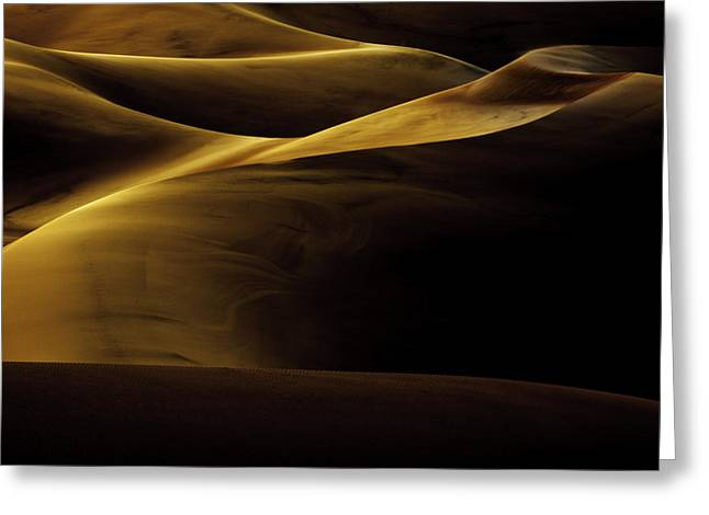 Great Sand Dunes National Park Greeting Cards - Golden Dunes Greeting Card by Tom Cuccio